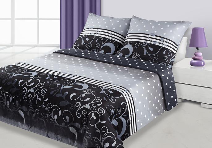 Saténové obliečky 200x220 DITA šedo-čierne