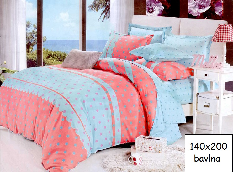 Bavlnené obliečky 140x200 BODKY modro-ružové