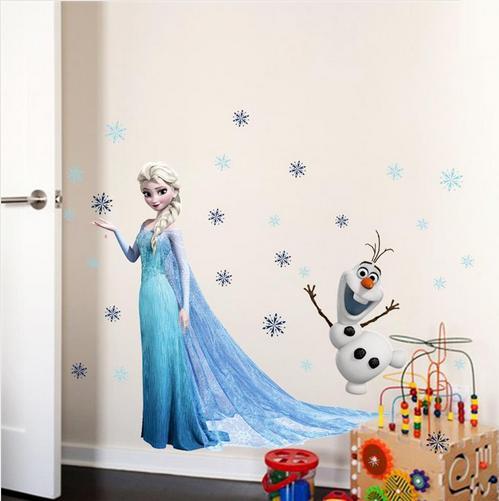 Nálepka na stenu FROZEN Elza+Olaf- XXL