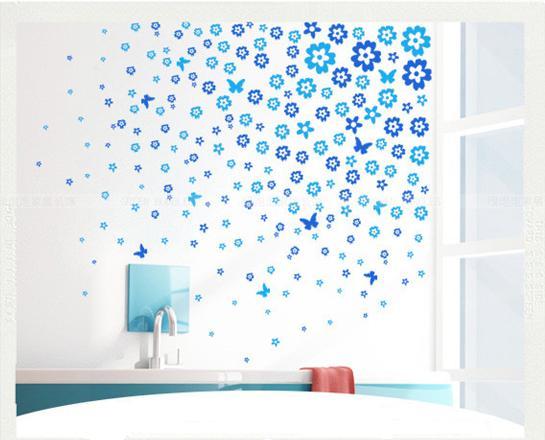Nálepka na stenu KVIETKY modré 220ks
