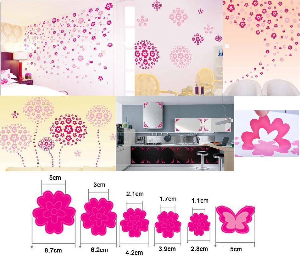 Nálepka na stenu KVIETKY ružové 220ks