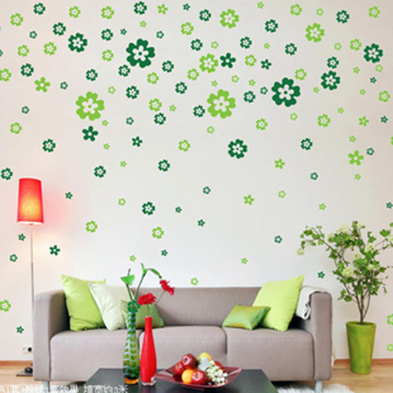 Nálepka na stenu KVIETKY zelené 220ks