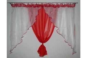 Hotová záclona 150x400 ZORA červená
