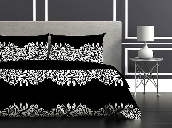 Bavlnené obliečky 140x200 GLAMOUR čierna