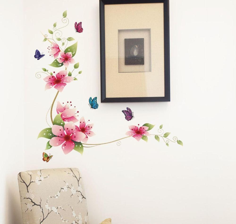 Nálepka na stenu KVETY ružové