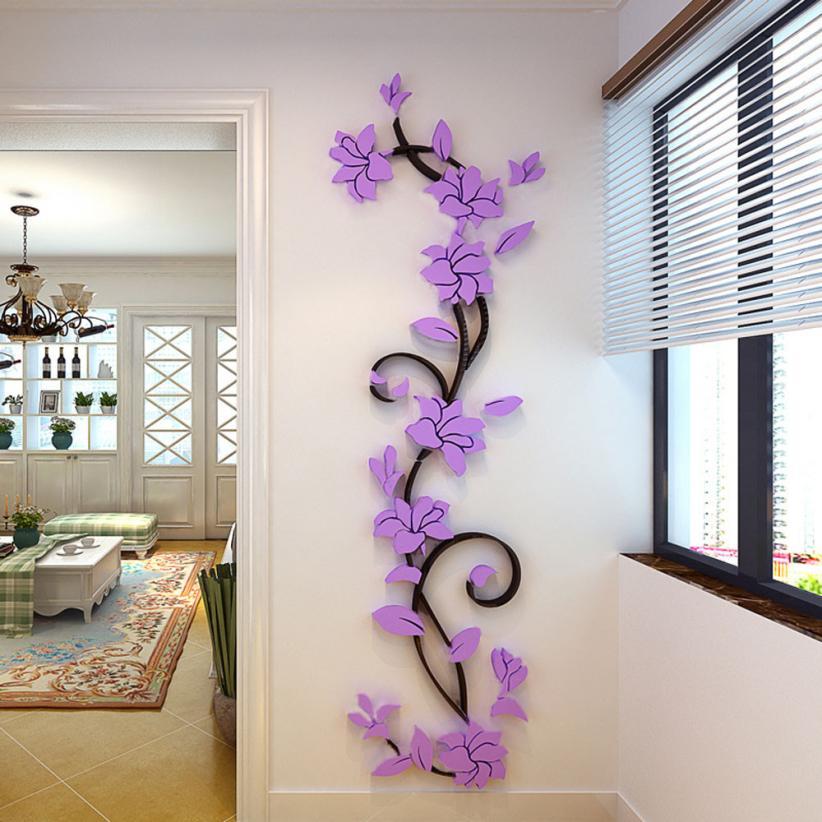 Nálepka na stenu FLOWER fialové