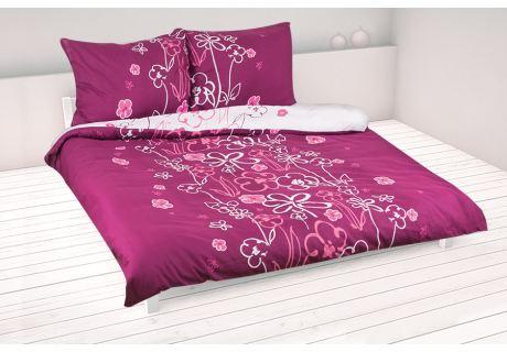 Bavlnené obliečky 200x220 KVIETKY fialová-biela