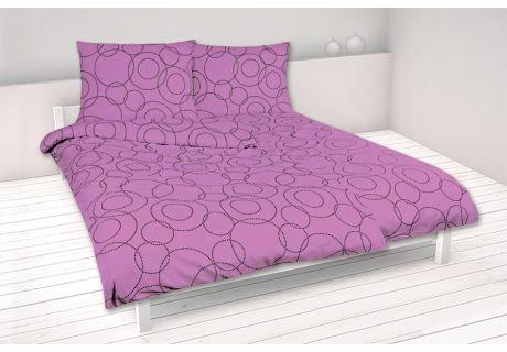 Bavlnené obliečky 140x200 KRUŽNICE fialové-posledný kus